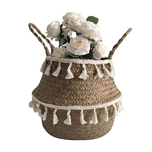 Y56(TM) Picknickkörbe, Wäschekorb Faltbar Seegras Blumenkorb Handgewebt Blumen Stroh Korb für Pflanze Blumentopf mit Griffen (27×24cm, Braun)