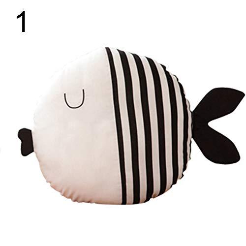cA0boluoC - Almohada de peluche con diseño de pez besándose para niños, regalo de cumpleaños, decoración de habitación con lunares Stripe multicolor