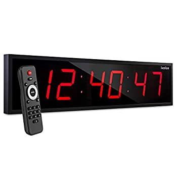 Ivation Huge 24  Inch Large Big Oversized Digital LED Clock with Stopwatch Alarms Countdown Timer & Temp - Shelf or Wall Mount  Red  | 6-Level Brightness Mounting Holes & Hardware
