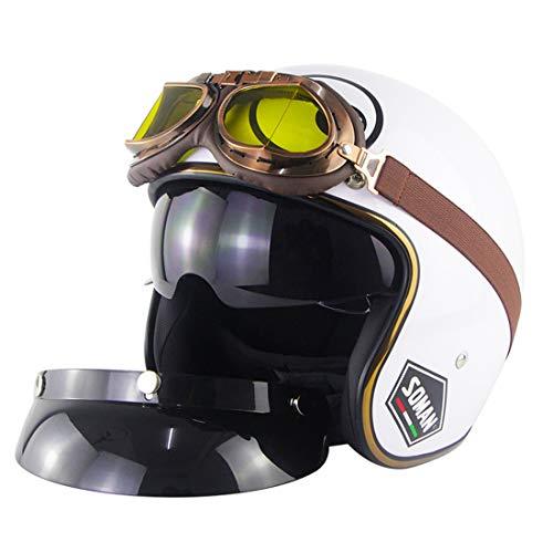 FPTB Casco De Cara Abierta De La Vendimia D.O.T Motorbike Jet Helmets De Caída Adulto con Visera De Sol Unisex Motocicleta Cascos para 4-Seasons,Blanco,M(57~58cm)