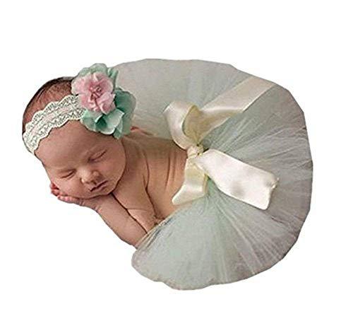 Unisex neonato ragazza Outfits Fotografia Props Copricapo Tutu Skirt (verde chiaro)