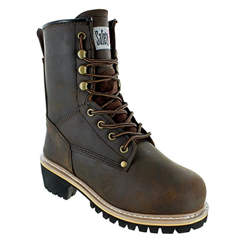 """Safety Girl GS009-BRN-FT-9.5 Safety Girl Women's 8"""" Logger Boot - Soft Toe 9.5, English, Capacity, Volume, Leather, 9.5, Brown ()"""