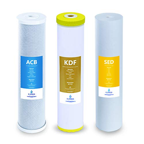 """Express Water – Whole House Heavy Metal Water Filter Set – 3 Stage Water Filtration Replacement Kit – Sediment, Carbon Block, KDF High Capacity Cartridge Filters – 5 Micron – 4.5"""" x 20"""" inch"""