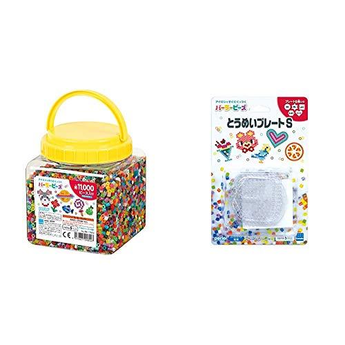 Kawada Perler Beads Tube 11000P Multicolor 80-17559 & Perler Beads Transparent Plate S 22651 [Buy Set]