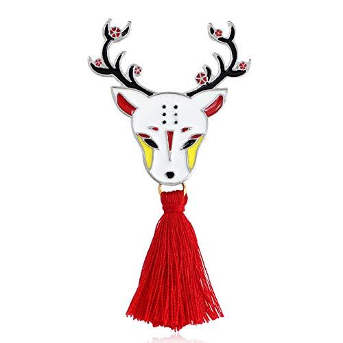 JTXZD Broche Animatie dier hert slang konijntje kimono met franjes emaille broche hemd wit speld metalen accessoires
