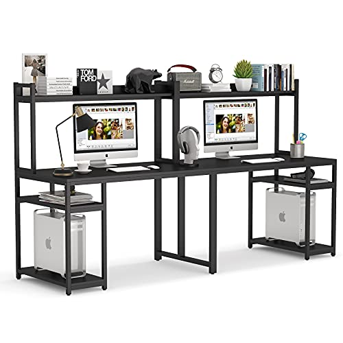 Tribesigns 94.5 inches Computer Desk with Hutch, Extra Long Two Person Desk with Storage Shelves, Double Workstation Office Desk Table Study Writing Desk for Home Office,Black