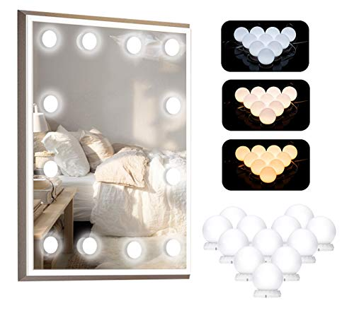 Lumière de Miroir, LDALAX 12 Ampoules Hollywood Kit de Lumière LED Dimmable Lampe avec 3 Modes de Couleur et 10 Niveaux de Luminosité pour Miroir de Maquillage et Coiffeuse