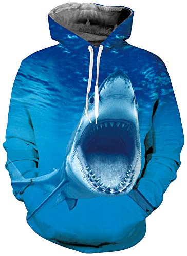 Guys Cool Blue Shark Fuzzy Hoodys for Women Mens Ocean Fish Animal Graphics Fashion Lightweight Crewneck Rave Hoodies Pullover Sweater Shirts with Pockets Back to School Jackets 90s Clothes Small