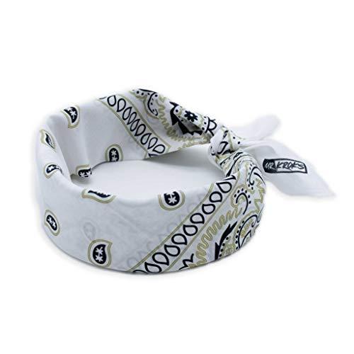 MRKROKS Premium Bandana | 100% Baumwolle | Bandana Handgelenk | Bindetuch | Kopftuch | stylische Designs | Bandana schwarz (lifestyle-weiß)