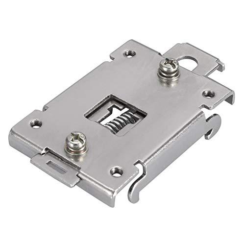 LANTRO JS - Clips de montaje de acero inoxidable 1PCS Abrazadera de clip de relé de estado sólido fijo de carril DIN de 35 mm con 2 tornillos de montaje