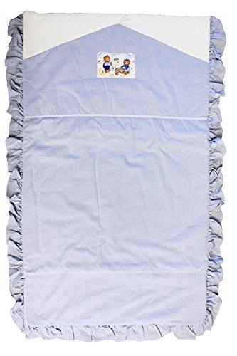Amaryliss - Edredon Couvre Lit Ourson 70 x 120 cm Rayé (Bleu, Vert) (Bleu Motif Brouette)