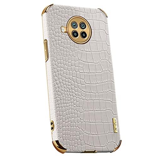 UBERANT Case para Redmi Note 9 Pro 5G, À prova de choque Chapeamento Macio TPU Parachoque Crocodilo Padrão Couro Ultra Fino Flexível Capa Protetora para Xiaomi Mi 10T Lite/Redmi Note 9 Pro 5G Branco