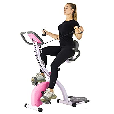 Murtisol Folding Exercise Bike Compact Foldable Stationary Bike Magnetic Resistance Control W/Twister Plate, Arm Resistance Bands, Extra Large&Adjustable Seat and Heart Monitor Home Exercise, Pink