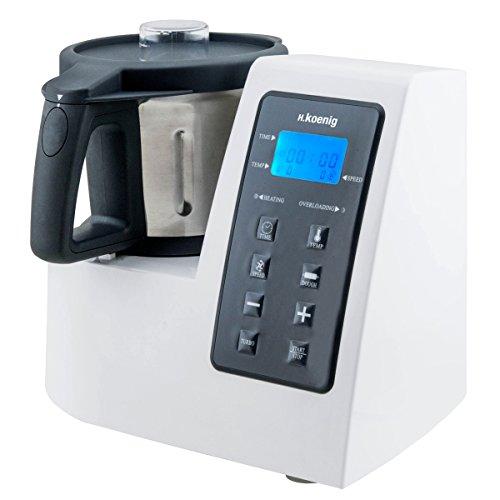 H.Koenig Robot Culinaire Chauffant Multifonctions 2L HKM1028 Inox 1300W professionnel, Fonction Turbo 9...