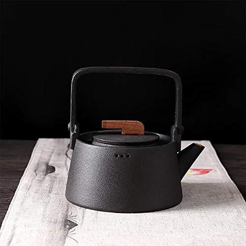 800ml RéTro ThéIèRe Bouilloire kettle en CéRamique Porcelaine Chinoise Ensemble de thé Bouilloire Cuisine Bouilloire,Noir