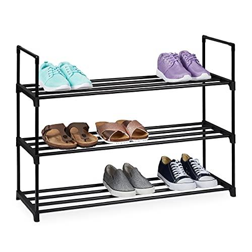 Relaxdays Zapatero (3 Niveles, para 12 Pares de Zapatos, 67 x 90,5 x 30,5 cm, Metal), Color Negro