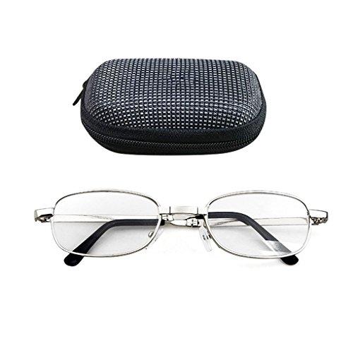 Vkospy Tragbare Falten Lesebrille Oval Metallrahmen Presbyopic Lupen Brillen mit Etui