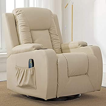 Comhoma Recliner Chair Massage Rocker with Heated Modern PU Leather Ergonomic Lounge 360 Degree Swivel Single Sofa Seat with Drink Holders Living Room Chair Cream White