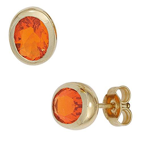 Paar Ohrstecker mit Opal Feueropal rot orange oval 585 Gold Gelbgold Damen