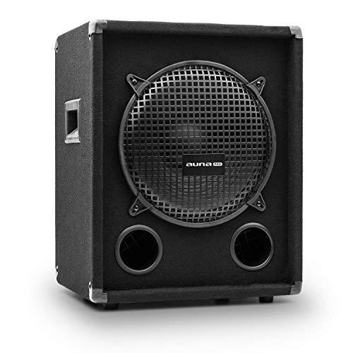 auna Pro PW - passiver PA-Subwoofer PA-Tieftöner, Bassreflex-Bauweise, Impedanz: 8 Ohm, Tragegriffe, Schutzecken, schwarz, Subwoofer, Belastbarkeit: 400 Watt RMS / 800 Wmax.