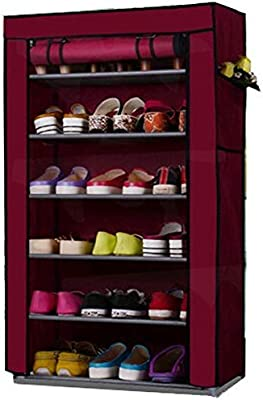 shopper 52 6 Layer Storage Cum Shoe Organiser Rack with Wardrobe Cover and Metal Frame Stand (Multicolour)