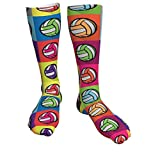 antcreptson Volleyball Colorful Athletic Tube Stockings Women's Men's Classics Knee High Socks Sport Long Sock One Size