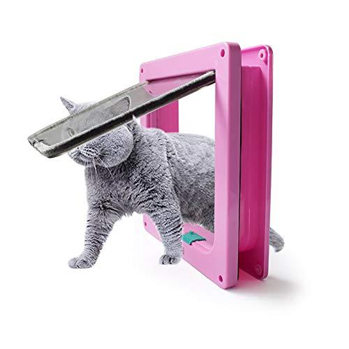 Cat Flap Deur S/M/L 4 Way Afsluitbaar Waterdicht Interieur Exterieur Lock voor Samll Huisdier Hond Beveiliging Houten Deuren Flaps, Wit Roze Zwart