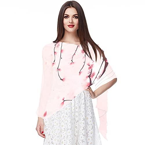 WJJSXKA Bufandas para mujer Estampado ligero Estampado floral Bufanda Chal Bufandas de moda Chales de protección solar, Pintura de estilo oriental Flor de cerezo Primavera