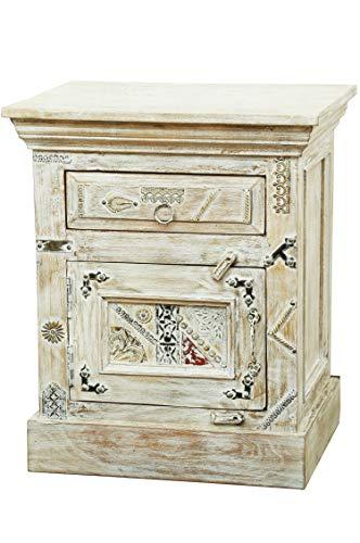 Oosterse houten nachtkastje Antara wit 60 cm hoog | Orient Vintage nachtkastje oosters met de hand versierd | Indiase nachtkastje ook voor boxspringbed | Aziatische meubels uit India