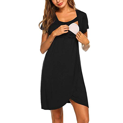 Snakell Umstandskleider Damen Kurzarm Sommerkleider Umstands Kleid Nachthemd für Schwangerschafts Umstandsmode Stillnachthemd Kurz Kurzarm V Ausschnitt mit Wickeloptik für Sommer