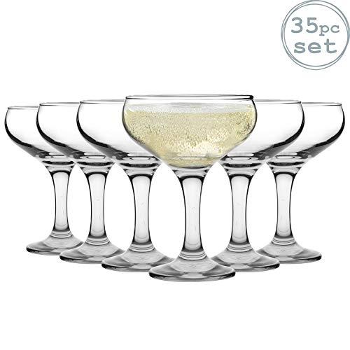 Rink Drink Set für 5-stöckige Champagner-Pyramide - Sektschalen im Vintage-Stil - 35 Gläser - 200 ml
