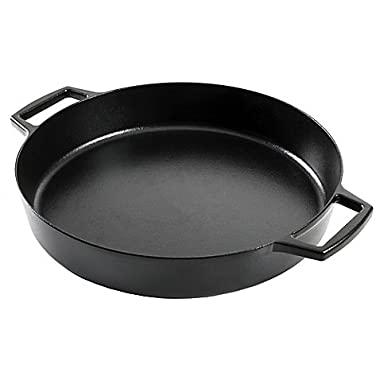 Artisanal Kitchen Supply Sturdy Durable Pre-Seasoned Cast Iron 14-Inch Everyday Pan in Black, Oven safe up to 500º F and Suitable for Use on All Cooktops