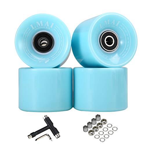 LMAI Skateboard Wheels 60mm 83A Black + ABEC 9 Bearing Steel and Spacers