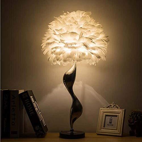 Yangmanini Pluma Tabla Dormitorio de la lámpara de Noche Caliente de la lámpara romántica Lámpara Europea Decoración Matrimonio Personalidad Creativa nórdica lámparas 43 * 69cm
