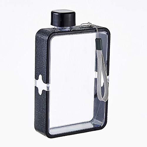 MORANGO Bottiglia di acqua piatta A5, riutilizzabile, in plastica trasparente, per sport, campeggio, palestra, fitness all'aria aperta, colore: nero