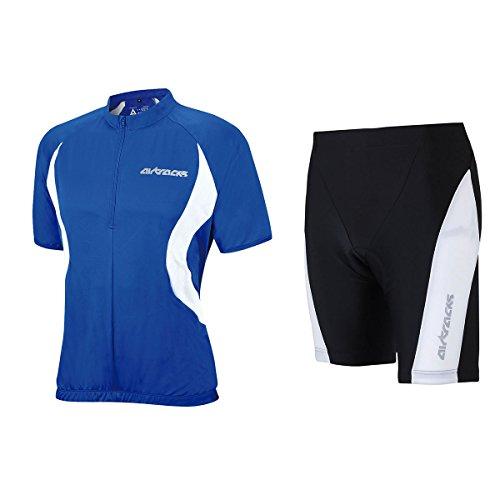 Airtracks Ensemble maillot de cyclisme à manches courtes / short de vélo KURZ PRO T + maillot de cyclisme à manches courtes Team/respirant – Bleu/noir – XXL