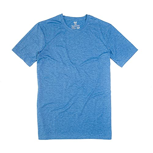 Men's Tall Slim-Fit Short Sleeve Crewneck T-Shirt, Soft Poly/Cotton Blend Tee, Blue, Medium