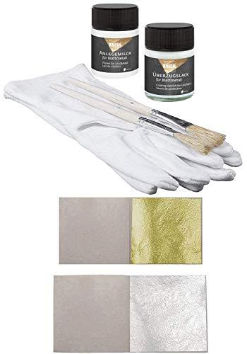 20 hojas pan de oro 23,75 quilates comestible + 20 hojas pan de plata puro + 1 x adhesivo pegamento especial 50ml + 1 x barniz de protección 50ml + 1 x par de guantes + 2 x Cepillos