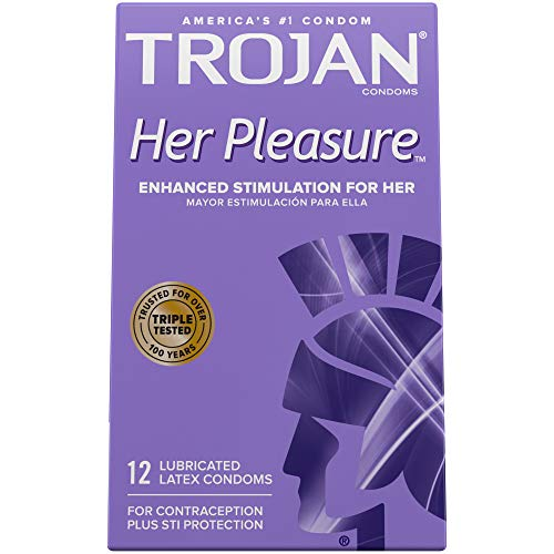 Trojan Her Pleasure Sensations Lubricated Condoms - 12 count