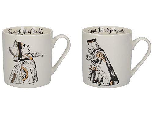 V&A C000047 Alice in Wonderland Mug Set in Gift Box, King and Queen of Hearts, Fine China, 350 ml - (Set of 2) , White Black Gold