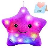 WEWILL Creative Twinkle Star Glowing LED Night Light Plush Pillows Stuffed Toys (Purple)