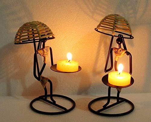 Aadit Crreation Metal Decorative Umbrella Ladies Tealight Candle Holder Pack of 2 pc (Umbrella Ladies Tealight)