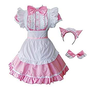 GRAJTCIN Womens Cat Ear French Maid Costume with Apron Halloween Lolita Cosplay Fancy Dress  X-Large Pink