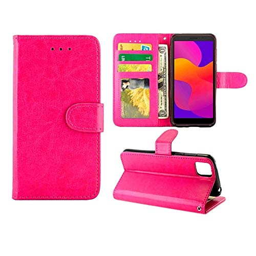 Huawei Cases for Huawei Y5P(2020)/Honor9S Crazy Horse Texture Leather Horizontal Flip Protective Case with Holder & Card Slots & Wallet & Photo Frame Huawei Cases (Color : Magenta)
