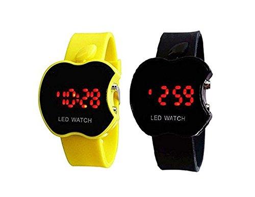 Swissrock - Orologio da polso digitale a LED, colore: giallo e nero