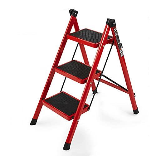 Escalera 3 Peldaños Plegable Resistente Escalera Plegable 3 Peldaños Ligera Pedal Grande De 24x18cm Escaleras De Tijera 3 Peldaños Para Almacenes, Talleres, Cocinas (Color : Red)