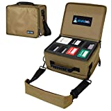 Pirate Lab MTG Card Storage Case, Holds 8 Deck Boxes (700+ Cards) - Shoulder Strap, Foam Tray and Dividers - TCG, Yu-Gi-Oh!, Pokemon, Portable Card Game Carrier (Small, Coyote)