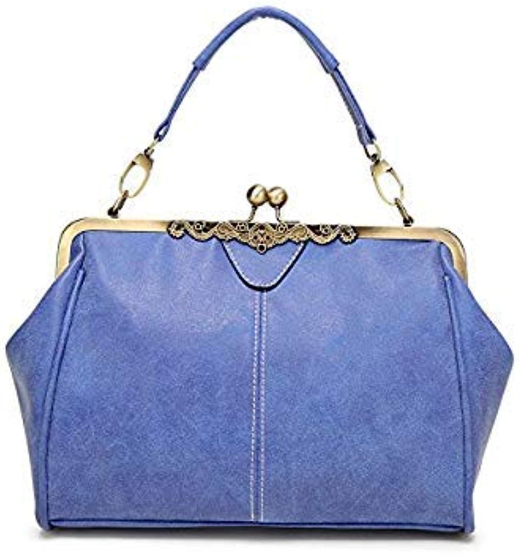 Bloomerang Handbags Women Leather Handbag Female Sling Messneger Bag Women Shoulder Bag Luxury Handbags Women Bags Clutch Designer Vintage color blueee Size 29cm
