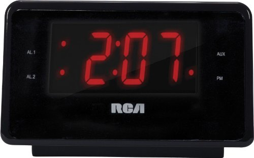 RCA Dual Alarm Clock iPod Charging Station with Digital FM Radio Tuner, Large LED Display, Flexible 30-pin iPod Docking Connector, Sleep Timer, Two Speaker Stereo Sound and a Built-In 3.5mm Auxiliary
