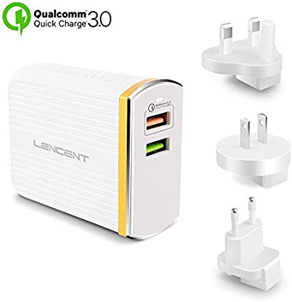 LENCENT Fast Charger, Quick Charge 3.0 30W USB Charger Plug, 2 Ports and US/UK/EU Travel Adapter for iPhone, Galaxy, Note, LG, Sony Xperia XZ, Nexus 6 and More